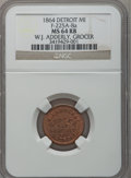 Civil War Merchants, 1864 W.J. Adderley, Detroit, MI, F-225A-8a, R.9, MS64 Red and BrownNGC.. Purchased from James Kelly (5/7/1943) for 40 cen...
