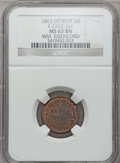 Civil War Merchants, 1863 William Eisenlord, Detroit, MI, F-225Z-2a1, R.9, MS63 BrownNGC.. Purchased from H.E. Wilson (9/24/1940) for 11 cents...