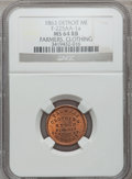 Civil War Merchants, 1863 Farmers Clothing Store, Detroit, MI, F-225AA-1a, R.7, MS64 Redand Brown NGC.. Purchased from H. Leonard (5/20/1939) ...