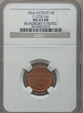 Civil War Merchants, 1864 Blindbury's Hotel, Detroit, MI, F-225D-4a, R.8 MS65 Red andBrown NGC.. Purchased from James Kelly (7/8/1943) for 75 ...