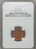 Civil War Merchants, 1863 C. Fitzsimons & Co., Detroit, MI, F-225AB-2a, R.7, MS64Red and Brown NGC.. Purchased from James Kelly (7/8/1943)for...