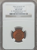 Civil War Merchants, 1864 C. Fitzsimons & Co., Detroit, MI, F-225AB-4a, R.9, MS64Red and Brown NGC.. Purchased from James Kelly (7/8/1943)for...