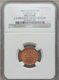 Civil War Merchants, 1863 L.S. Freeman, Detroit, MI, F-225AC-3a, R.7, MS65 Red and BrownNGC.. Purchased from H. Leonard (5/20/1939) for 30 cen...