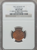 Civil War Merchants, 1863 F. Geis, Detroit, MI, F-225AE-2a, R.7, MS65 Red and BrownNGC.. Purchased from L. Dodd (8/28/1938).. From TheCli...