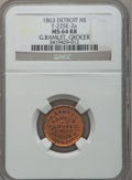 Civil War Merchants, 1863 G. Bamlet, Detroit, MI, F-225E-2a, R.6, MS64 Red and BrownNGC.. Purchased from James Kelly (7/8/1943) for 35 cents....