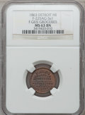 Civil War Merchants, 1864 F. Gies, Detroit, MI, F-225AGa-3a1, R.8 MS63 Brown NGC..Purchased from Dennis Wierzba.. From The Clifton A.Temp...