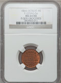 Civil War Merchants, 1864 F. Gies, Detroit, MI, F-225AGa-5a, R.8 MS64 Red and BrownNGC.. Purchased from James Kelly (5/7/1943) for 75 cents....