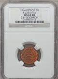 Civil War Merchants, 1864 C.B. Goodrich, Detroit, MI, F-225AH-5a, R.9, MS63 Red andBrown NGC.. Purchased from James Kelly (5/7/1943) for 35ce...