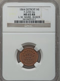 Civil War Merchants, 1864 L.W. Barie, Detroit, MI, F-225F-6a, R.9, MS65 Red and BrownNGC.. Purchased from James Kelly (7/8/1943) for 75 cents....