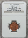 Civil War Merchants, 1864 F. Hamman & Co., Detroit, MI, F-225AI-3a, R.9, MS65 Redand Brown NGC.. Purchased from James Kelly (7/8/1943) for 75...