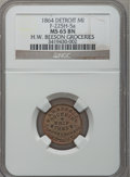 Civil War Merchants, 1864 H.W. Beeson, Detroit, MI, F-225H-5a, R.9, MS65 Brown NGC..Purchased from H.E. Wilson (9/24/1940) for 11 cents.....