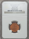 Civil War Merchants, 1863 Heinman's, Detroit, MI, F-225AJa-2a, R.8 MS65 Red and BrownNGC.. Purchased from H. Bowen for 50 cents.. FromThe...