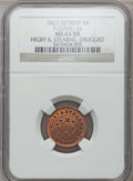 Civil War Merchants, 1863 Higby & Stearns, Detroit, MI, F-225AL-2a, R.7, MS65 Redand Brown NGC.. Purchased from H. Leonard (5/20/1939) for 30...