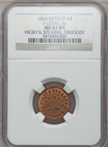 Civil War Merchants, 1864 Higby & Stearns, Detroit, MI, F-225AL-3a, R.9, MS63 BrownNGC.. Purchased from H.E. Wilson (9/24/1940) for 11cents....