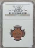 Civil War Merchants, 1863 Hilterscheid Bros., Detroit, MI, F-225AM-2a, R.7, MS64 Red andBrown NGC.. Purchased from H. Leonard (5/20/1939) for ...