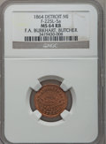 Civil War Merchants, 1864 F.A. Burkhart, Detroit, MI, F-225L-5a, R.9, MS64 Red and BrownNGC.. Purchased from James Kelly (5/7/1943) for 35 cen...