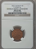 Civil War Merchants, 1863 Charles Busch, Detroit, MI, F-225M-3a, R.6, MS65 Red and BrownNGC.. Purchased from James Kelly (5/7/1943) for 35 cen...