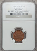 Civil War Merchants, 1864 Hilterscheid Bros., Detroit, MI, F-225AM-3a, R.9, MS65 Red andBrown NGC.. Purchased from James Kelly (7/8/1943) for ...
