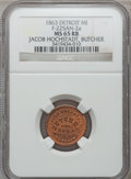 Civil War Merchants, 1863 Jacob Hochstadt, Detroit, MI, F-225AN-2a, R.7, MS65 Red andBrown NGC.. Purchased from H. Leonard (5/20/1939) for 30 ...