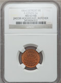 Civil War Merchants, 1864 Jacob Hochstadt, Detroit, MI, F-225AN-3a, R.9, MS63 Red andBrown NGC.. Purchased from James Kelly (7/8/1943) for 75 ...