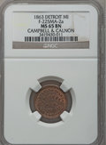 Civil War Merchants, 1863 Campbell & Calnon, Detroit, MI, F-225MA-2a, R.5, MS65Brown NGC.. Purchased from J. Barnet (8/15/1939) for 25cents....