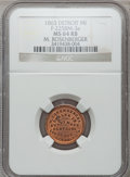 Civil War Merchants, 1863 M. Rosenberger, Detroit, MI, F-225BM-3a, R.7, MS64 Red andBrown NGC.. Purchased from J. Barnet (9/14/1938) for 40ce...