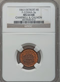 Civil War Merchants, 1863 Campbell & Calnon, Detroit, MI, F-225MA-3a, R.6, MS64 Redand Brown NGC.. Purchased from the Henry Chapman Estate(1/...