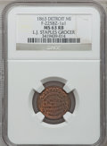 Civil War Merchants, 1863 L.J. Staples, Detroit, MI, F-225BZ-1a1, R.9, MS63 Red andBrown NGC.. Purchased from H.E. Wilson (9/24/1940) for 11c...