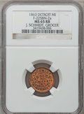 Civil War Merchants, 1863 J. Schmidt, Detroit, MI, F-225BN-2a, R.8 MS65 Red and BrownNGC.. From The Clifton A. Temple Collection....