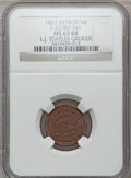 Civil War Merchants, 1863 L.J. Staples, Detroit, MI, F-225BZ-2a1, R.9, MS63 Red andBrown NGC.. From The Clifton A. Temple Collection....