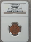 1864 Campbell & Calnon, Detroit, MI, F-225MA-4a, R.9, MS64 Red and Brown NGC. Purchased from James Kelly (7/8/1943)...