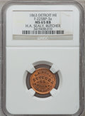Civil War Merchants, 1863 H.A. Sealy, Detroit, MI, F-225BP-3a, R.7, MS65 Red and BrownNGC.. From The Clifton A. Temple Collection....