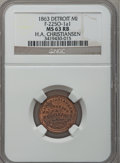 Civil War Merchants, 1863 H.A. Christiansen, Detroit, MI, F-225O-1a1, R.9, MS63 Red andBrown NGC.. Purchased from James Kelly (7/8/1943) for 3...