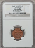 Civil War Merchants, 1864 John Seeley, Detroit, MI, F-225BQ-4a, R.9, MS65 Red and BrownNGC.. From The Clifton A. Temple Collection....