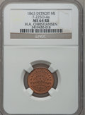 Civil War Merchants, 1863 H.A. Christiansen, Detroit, MI, F-225O-4a, R.7, MS64 Red andBrown NGC.. Ex: Thomas L. Elder (5/1940), lot 1463.. ...