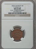 Civil War Merchants, 1864 H.A. Christiansen, Detroit, MI, F-225O-5a, R.9, MS63 Red andBrown NGC.. Purchased from James Kelly (7/8/1943) for 75...