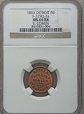 Civil War Merchants, 1863 S. Cohen, Detroit, MI, F-225Q-2a, R.8 MS64 Red and Brown NGC..Purchased from H. Leonard (5/20/1939) for 30 cents....