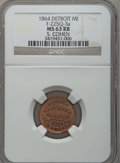 Civil War Merchants, 1864 S. Cohen, Detroit, MI, F-225Q-3a, R.9, MS63 Red and BrownNGC.. Purchased from James Kelly (5/7/1943) for 35 cents....