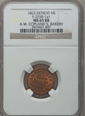Civil War Merchants, 1863 A.W. Copland, Detroit, MI, F-225R-1a1, R.9, MS65 Red and BrownNGC.. Purchased from James Kelly (7/8/1943) for 75 cen...