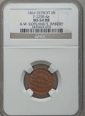 Civil War Merchants, 1864 A.W. Copland, Detroit, MI, F-225R-4a, R.9, MS64 Red and BrownNGC.. Purchased from James Kelly (7/8/1943) for 75 cent...