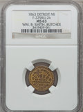 Civil War Merchants, 1863 William B. Smith, Detroit, MI, F-225BU-2b, R.8 MS63 NGC..Purchased from James Kelly (7/8/1943) for 40 cents..Fr...