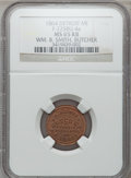 Civil War Merchants, 1864 William B. Smith, Detroit, MI, F-225BU-4a, R.9, MS65 Red andBrown NGC.. Incomplete Planchet.. From The Clifton A. Te...