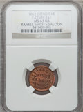 Civil War Merchants, 1863 Yankee Smith's Saloon, Detroit, MI, F-225BV-1a1, R.9, MS63 Redand Brown NGC.. Purchased from James Kelly (7/8/1943) ...