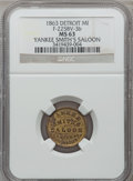 Civil War Merchants, 1863 Yankee Smith's Saloon, Detroit, MI, F-225BV-3b, R.9, MS63NGC.. Purchased from James Kelly (7/8/1943) for 75 cents....