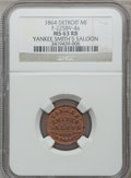 Civil War Merchants, 1864 Yankee Smith's Saloon, Detroit, MI, F-225BV-4a, R.9, MS63 Redand Brown NGC.. Purchased from James Kelly (7/8/1943) f...
