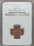 Civil War Merchants, 1863 William Snow, Detroit, MI, F-225BX-2a, R.7, MS63 Red and BrownNGC.. Purchased from James Kelly (5/7/1943) for 40 cen...
