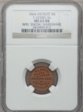 Civil War Merchants, 1864 William Snow, Detroit, MI, F-225BX-3a, R.9, MS63 Red and BrownNGC.. Purchased from James Kelly (5/7/1943) for 40 cen...