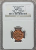 Civil War Merchants, 1863 Mrs. A. Stringer, Detroit, MI, F-225CB-2a, R.7, MS63 Red andBrown NGC.. Purchased from James Kelly (7/8/1943) for 35...