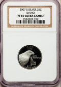 Proof Statehood Quarters, 2007-S 25C Idaho Silver PR69 Ultra Cameo NGC. NGC Census: (0/0).PCGS Population (4173/244). Numismedia Wsl. Price for pro...