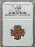 Civil War Merchants, 1864 I. & C. Taylor, Detroit, MI, F-225CD-3a, R.9, MS63 Red andBrown NGC.. Purchased from James Kelly (12/20/1941) for30...